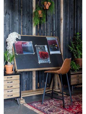 Dutchbone Franky Counter Barkruk - Zithoogte 65 cm - Set van 2 - Bruin Kunstleer - Zwart Metalen Onderstel