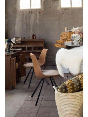 Dutchbone Franky Stoel - Set van 2 - Bruin Kunstleer - Zwart Metalen Poten