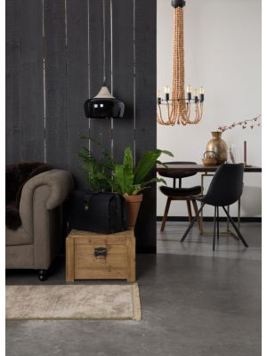 Dutchbone Franky Stoel - Set van 2 - Zwart Kunstleer - Zwart Metalen Poten
