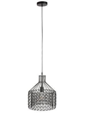 Dutchbone Jim Hanglamp Wide - Ø30xH170 cm - Zwart met Verzinkt Metaal