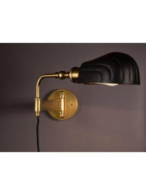 Dutchbone Lily Wandlamp - B12xD56xH21,5 cm - Zwart en Messing Metaal