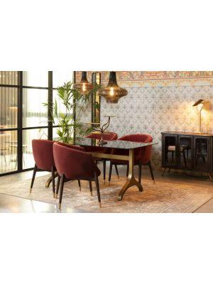 Dutchbone Sansa Eettafel - L180 x B90 x H75 cm - Smoke Glazen Tafelblad - Messing Onderstel