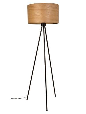 Dutchbone Woodland Vloerlamp - Ø50xH150 cm - Houten Lampenkap met Zwart Metalen Tripod