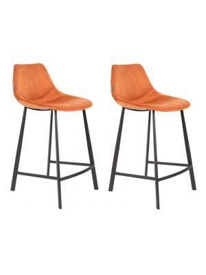 Dutchbone Franky Counter Barkruk - Zithoogte 65 cm - Set van 2 - Oranje Fluweel - Zwart Metalen Onderstel