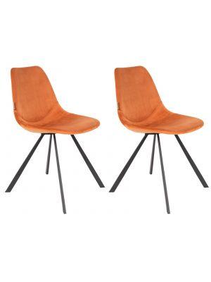 Dutchbone Franky Stoel - Set van 2 - Oranje Fluweel - Zwart Metalen Poten