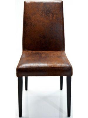 Kare Design - Stoel Casual Vintage Bruin Kunstleer - Set van 2 - Houten Poten