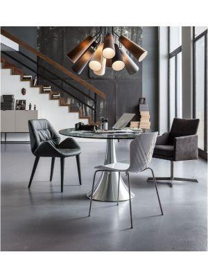 Kare Design Possibilita Ovale Eettafel - L180 x B120 x H75 cm - Glazen Tafelblad - Aluminium Trompetvoet