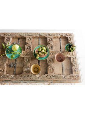 Kare Design - Kalif Eettafel - L200 x B90 x H78 cm - Hout met Glazen Tafelblad