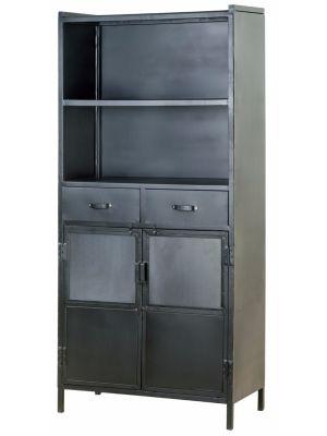 Eleonora Industrie Boekenkast 2-Deurs - 2-Laden - B85 x D40 x H180 cm - Zwart