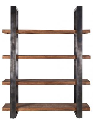 Eleonora Vigan Boekenkast - B160 x D50 x H200 cm - 4-Planken - Zwart - Mangohout