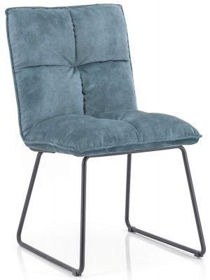 Eleonora Ruby Stoel - Set van 2 - Blauw Adore - Zwart Metalen Onderstel