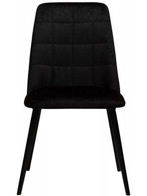 Dan-Form Embrace Eetkamerstoel - Set van 2 - Zwart Fluweel - Zwart Metalen Poten