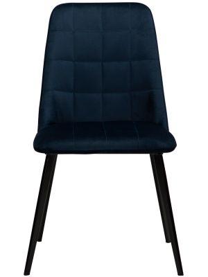 Dan-Form Embrace Eetkamerstoel - Set van 2 - Blauw Fluweel - Zwart Metalen Poten