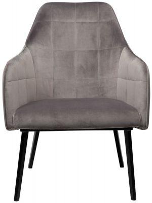 Dan-Form Embrace Lounge Fauteuil - Grijs Fluweel - Zwart Metalen Poten