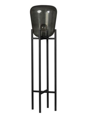 ETH Vloerlamp Benn - H115 cm - Ø33 cm - Rookglas en Zwart Metaal