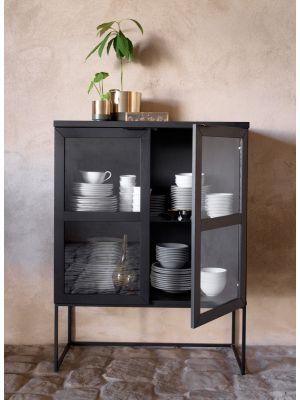 Rowico Everett Vitrinekast - Glazen Deuren - B95 x D41 x H125 cm - Zwart Eikenhout