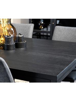 Rowico Everett Eettafel - Zwart Tafelblad - L220 x B100 x H75 cm - Metalen frame