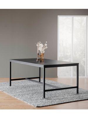 Rowico Everett Eettafel - Zwart Tafelblad - Metalen frame - L180 x B100 x H75 cm