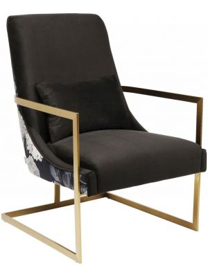 Kare Design Bold Fauteuil - Stof Zwart - Messingkleurig Metalen Sledeframe