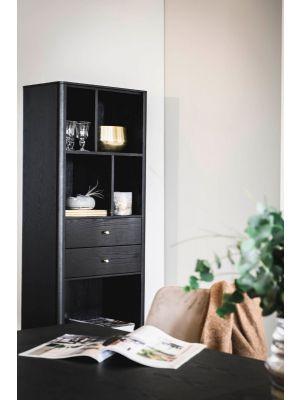 Rowico Fenwood Boekenkast - B60 x D35 x H170 cm - Twee lades - Zwart Eikenfineer