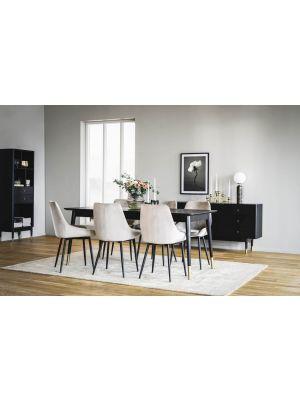 Rowico Fenwood Uitschuifbare Eettafel - L180 x B90 x H75 cm - Zwart Tafelblad