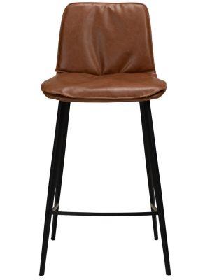 Dan-Form Fierce Counter Barkruk - Zithoogte 65 cm - Set van 2 - Cognac Kunstleer