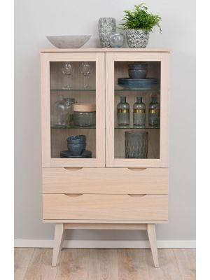 Rowico Filippa Vitrinekast - B81 x D40 x H140 cm - 2 Glazen Deuren - Whitewash Eikenfineer