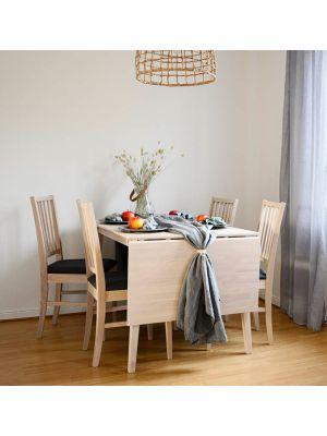 Rowico Filippa Uitklapbare Eettafel - Massief Whitewash Eiken - L120 x B80 x H74 cm
