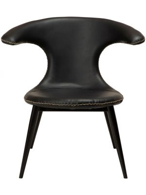 Dan-Form Flair Lounge Fauteuil – Zwart Kunstleer – Zwart Metalen Poten