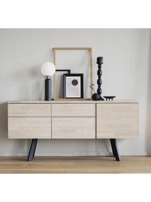 Rowico Fred Dressoir – B170 x D42 x H79 cm – Whitewash Eikenhout