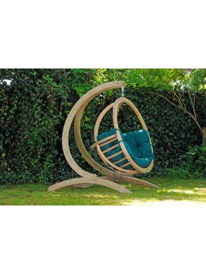 Amazonas Globo Chair Hangstoel Groene Kussens + Luxe Houten Standaard