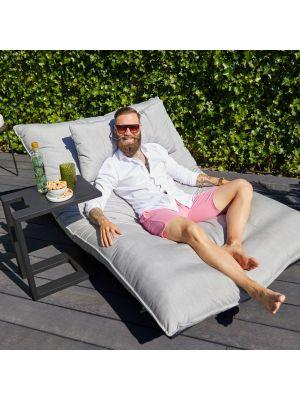 Hartman Emma Loungebed – Outdoor Ligbed - Grijze Sunbrella Stof