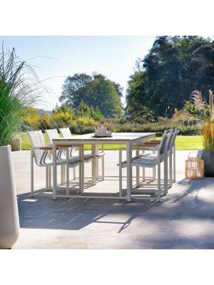 Hartman Fontaine Dining Tuinstoel – Set van 2 - Wit aluminium frame – Textileen zitting