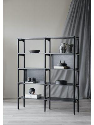 Rowico Holton Boekenkast - B140 x D36 x H166 cm - Zwart Eiken