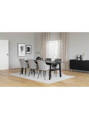 Rowico Hudson Verlengbare Eettafel - Zwart Tafelblad - L230 x B100 x H75 cm