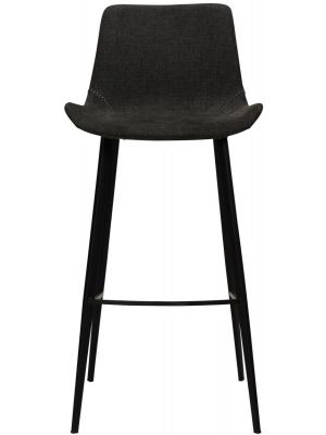 Dan-Form Hype Barkruk - Zithoogte 75 cm - Zwart Stof - Zwart Metalen Poten