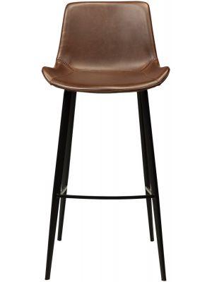 Dan-Form Hype Barkruk - Zithoogte 75 cm - Chocoladebruin Kunstleer - Zwart Metalen Poten