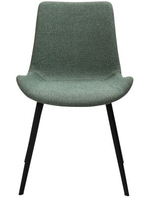 Dan-Form Hype Eetkamerstoel – Set van 2 – Bouclé Stof Groen – Zwart Metalen Poten