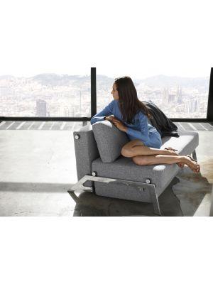 Innovation Cubed 140 Slaapbank - Twist Granite 565 - Chroom