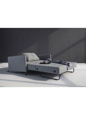 Innovation Cubed 140 Slaapbank Armleuning - Twist Granite 565 - Zwart Metalen Poten