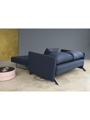 Innovation Cubed 160 Slaapbank Armleuning - Mixed Dance Blue 528 - Zwart Metalen Poten