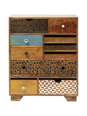 Kare Design Dressoir Soleil - 10 Laden - L70 x B30 x H90 cm - Mangohout