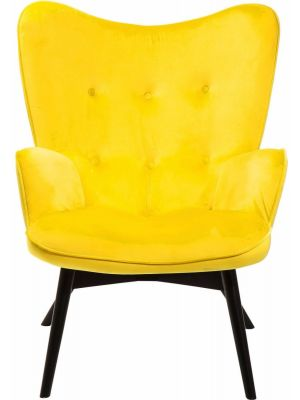 Kare Design Vicky Velvet Fauteuil - Fluweel Geel - Zwarte Houten Poten