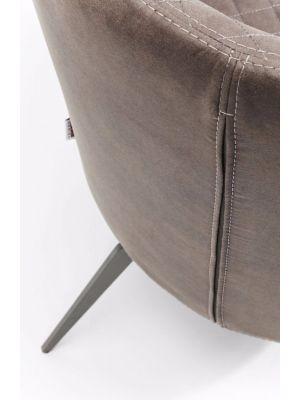 Kare Design Amsterdam Fauteuil - Kunstleer Grijs - Zwarte Metalen Poten