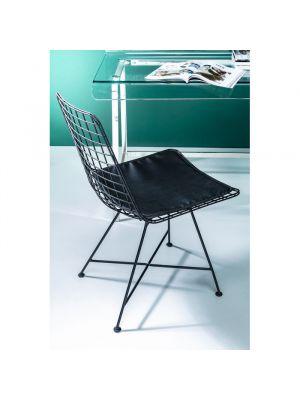 Kare Design Grid Stoel - Set van 2 - Zwart Metaal - Zwarte Zitting