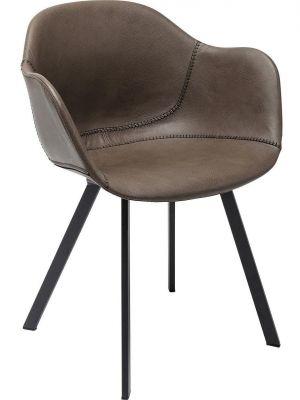 Kare Design - Stoel Lounge Armleuning - Set van 2 - Grijs Kunstleer