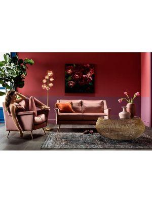 Kare Design - San Diego Bank 2-zits - Roze Fluweel - B145 x D65 x H81 cm - Gouden Metalen Poten