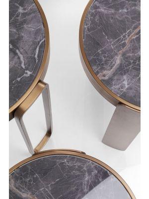 Kare Design Perelli Brass Bijzettafel - Set van 3 - Glas en Metaal