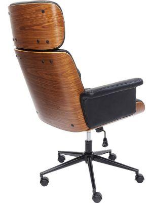 Kare Design Check Out Bureaustoel - Kunstleer Zwart - Zwart Metalen Kruispoot