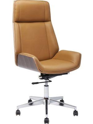 Kare Design High Bossy Bureaustoel - Kunstleer Cognac - Chromen Kruispoot